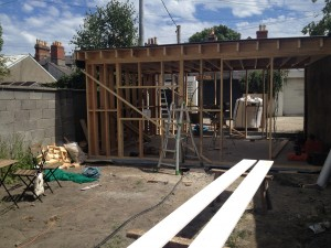 Timber frame work going up