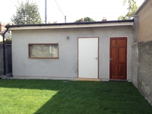 Exterior nearly finished with Acoustic doors and window installed