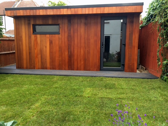 Alpha Dog garden music studio clad in Red Cedar