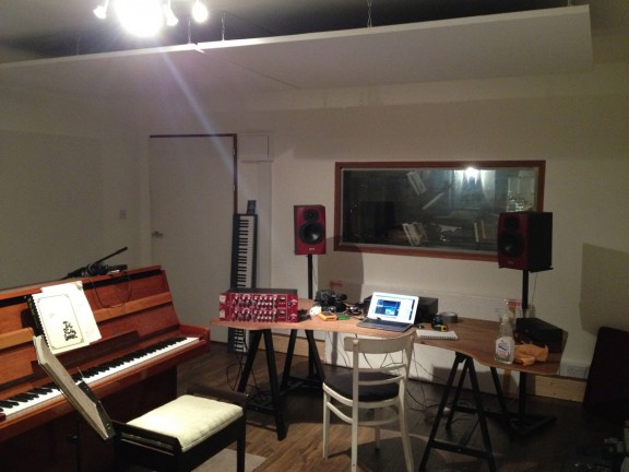 Image showing the inside of Sam Jackson's Amadeus garden music studio in Dublin.