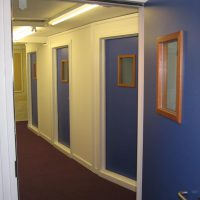 Single leaf acoustic doors with vision panels