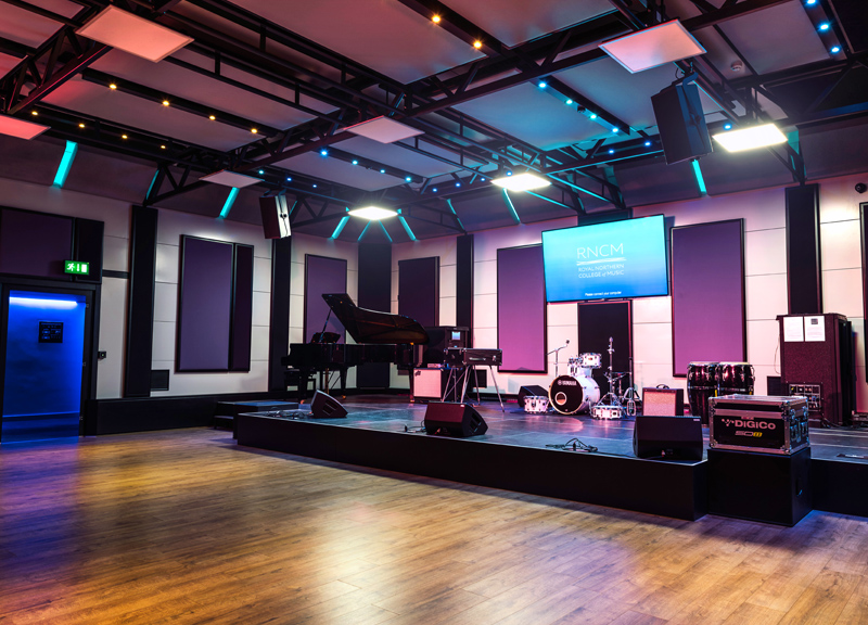 Aas completes largest ever boxy installation for rncm for Music studio flooring