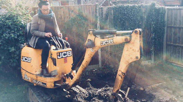 client digging foundations for Amadeus music practice room