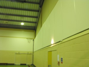 Acoustic panels in sports hall