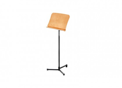 Concert Music Stand with Wood Tray & Single Lip