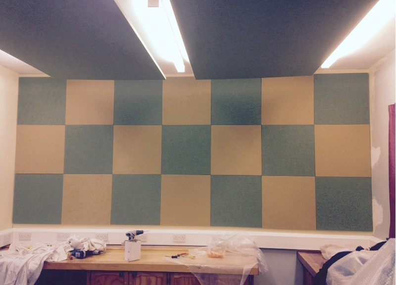 Acoustic Absorber panels in chessboard pattern